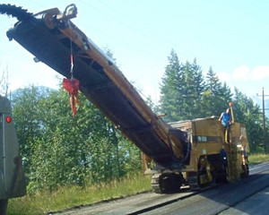 Okanagan Aggregates Ltd. resurfacing highway near Wasa.