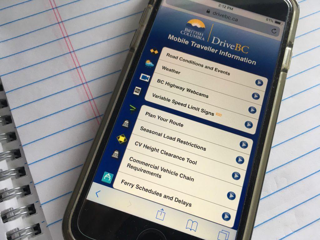 drivebc on mobile phone
