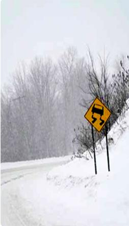 Think safety in snow road conditions