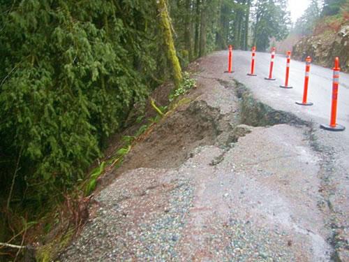 Heavy rains damage roadway