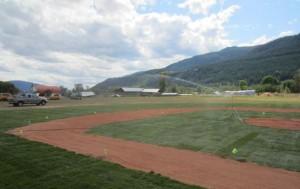 Volunteers build a community recreation area