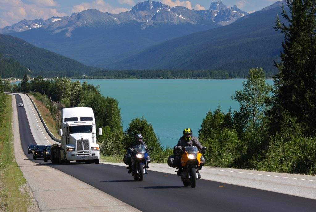 Motorcycles driving BC Highways