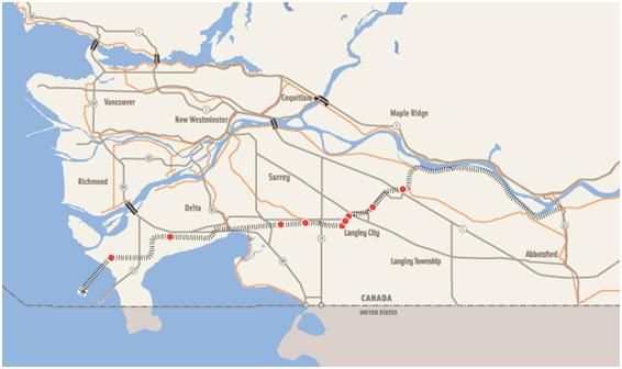 Map of Roberts Bank Rail Corridor