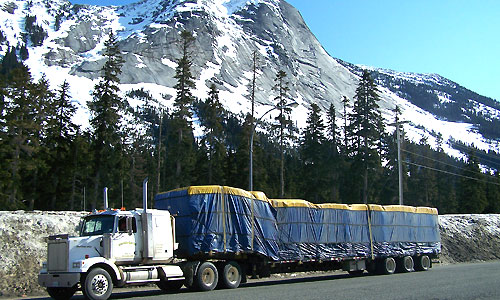 A large cargo shipment under wraps while in transport by a commercial vehicle in BC