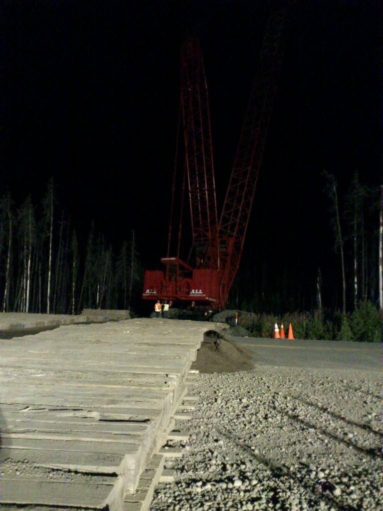 Crane crossing Highway 52