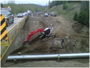 Highway 16 near Topley was closed to traffic on April 26 after a giant sinkhole spanning two lanes was detected.