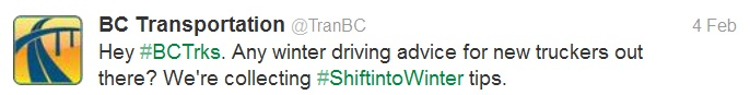 Twitter question on winter driving for new truck drivers