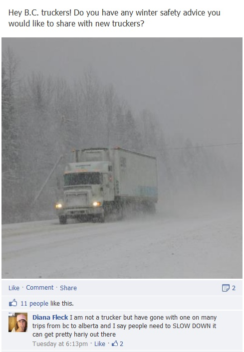 Facebook post on driving tips for new truckers