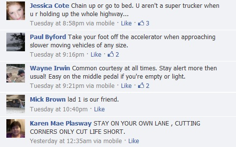facebook comments on advice for new truck drivers