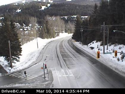 Hwy 99, in Whistler at Village Gate Blvd, looking south.