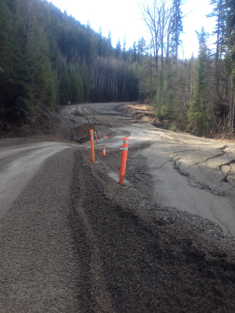 March 28, 2015 - The West Fraser Road slump progression shown one week after the beginning of the event