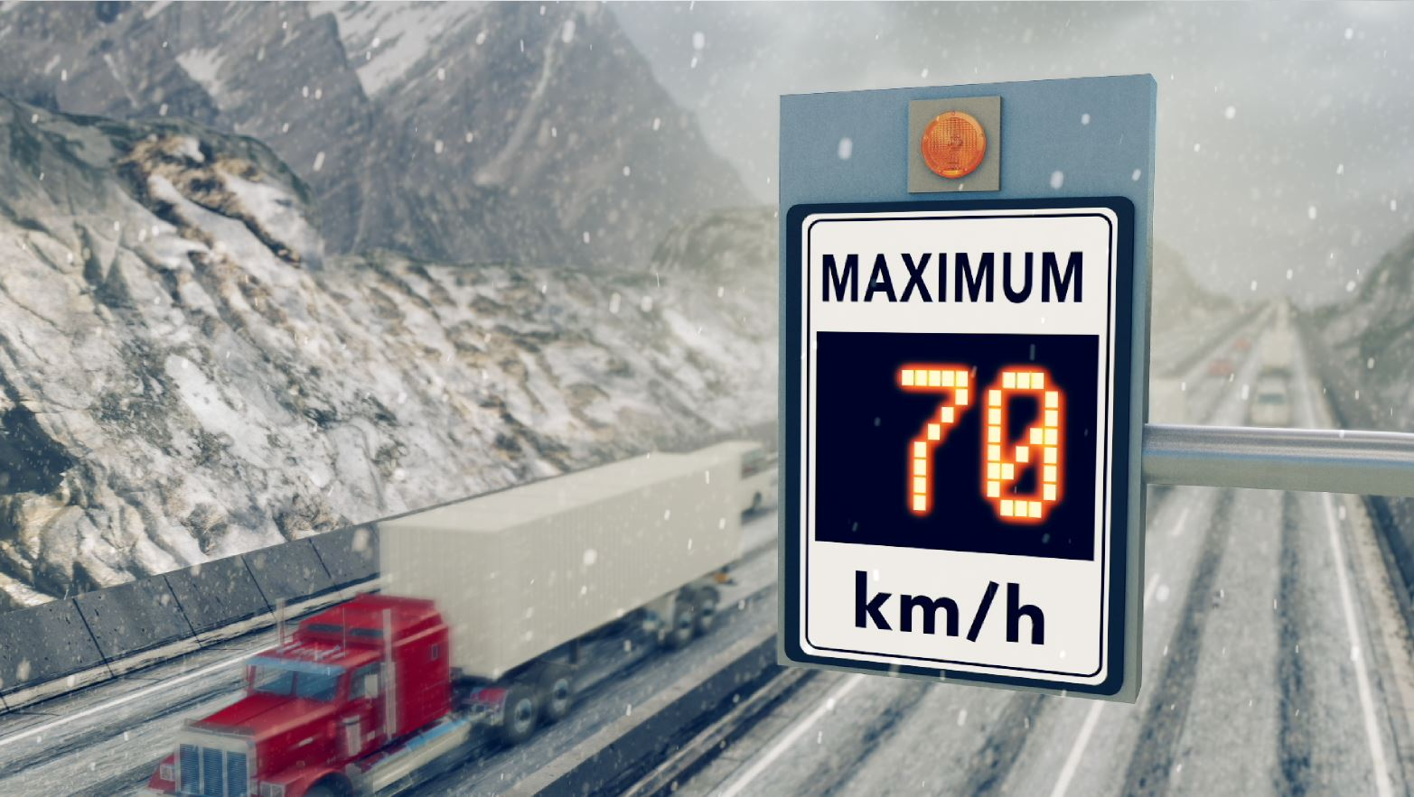 Variable speed limit sign in winter
