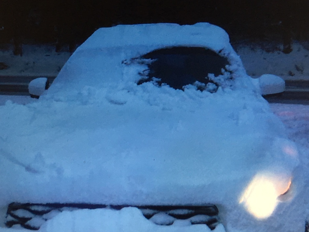 Porthole Car in Snow