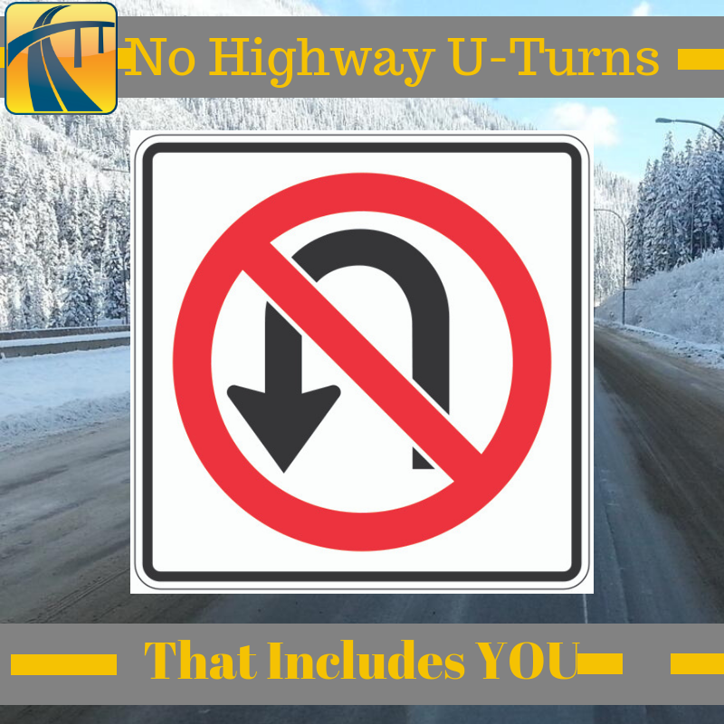 No highway U-turn for non-emergency vehicles