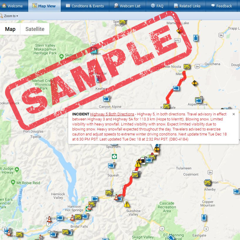 Map with posted travel advisory on DriveBC