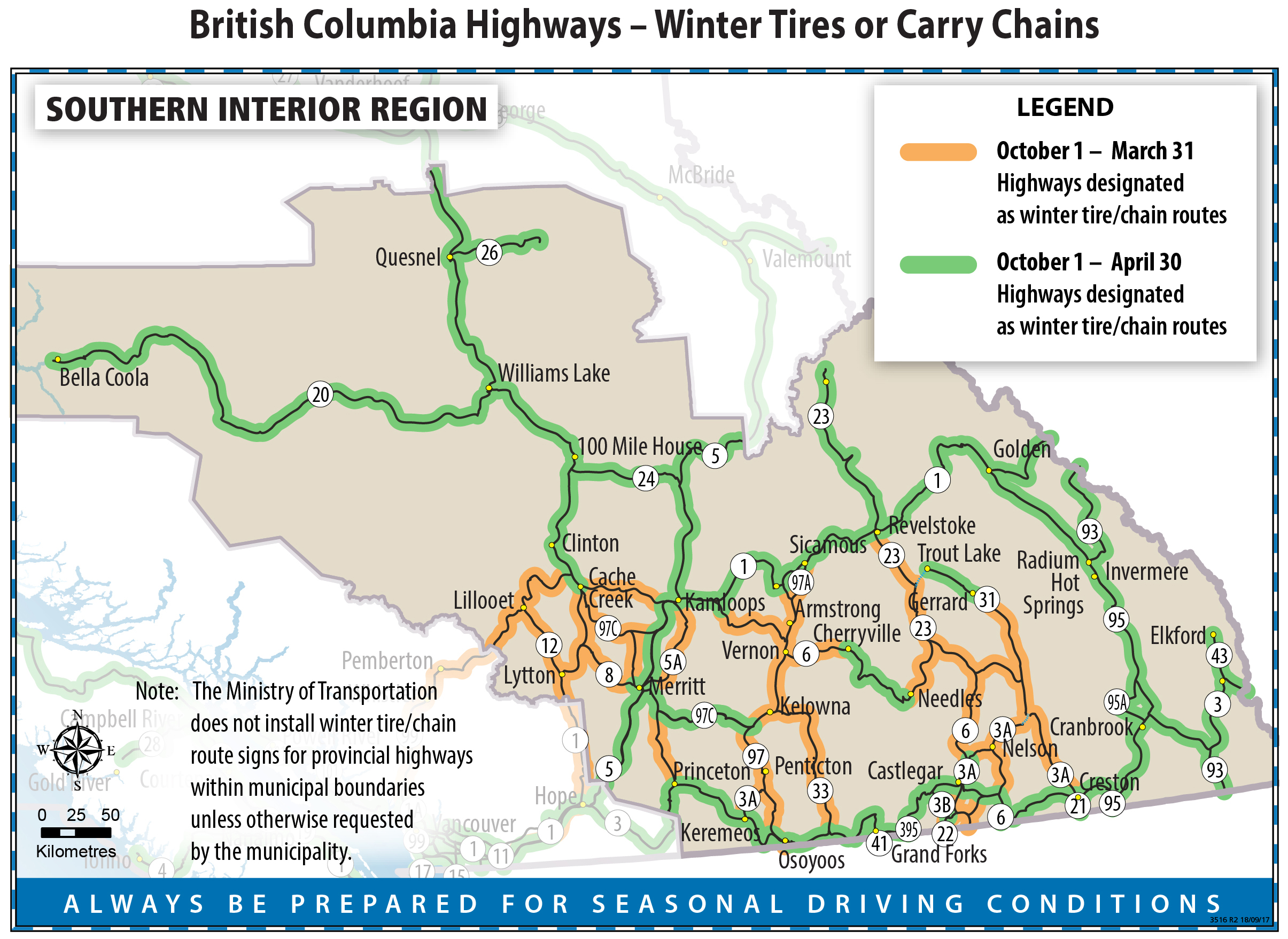 Winter Tires or Carry Chains Map