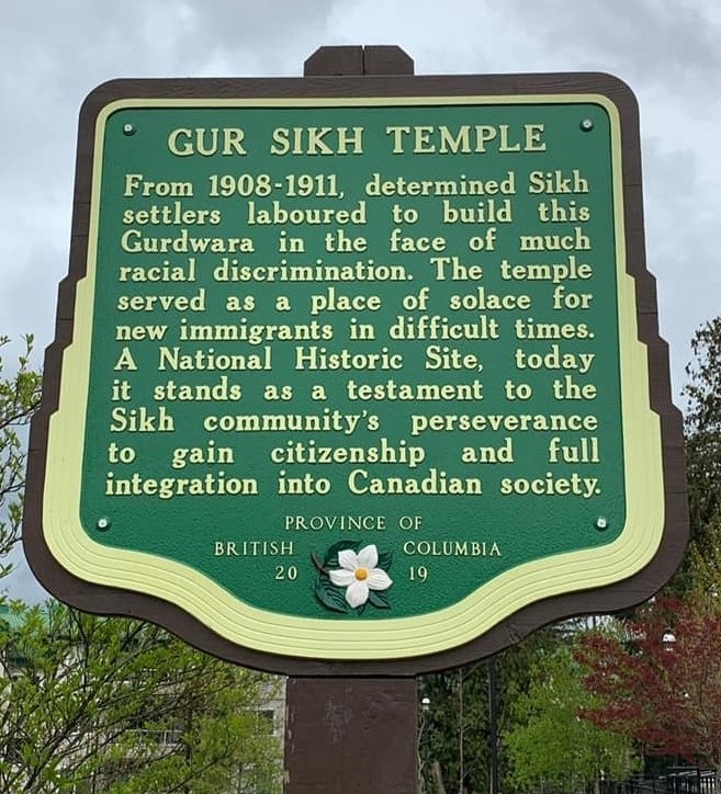 Gur Sikh Temple, BC Stop of Interest sign, Stop of Interest, Abbotsford BC