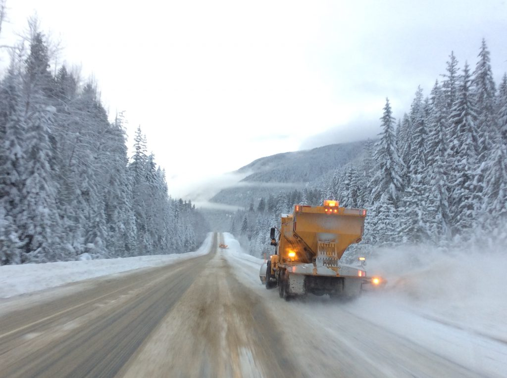 Snow plow on BC highway