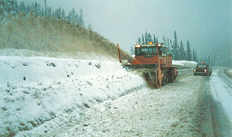 A snowblower clears snow roadside on the Coquihalla shortly after it opened in 1986.