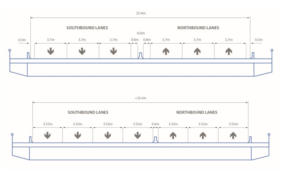 Original and new lane configurations of the bridge illustrated.