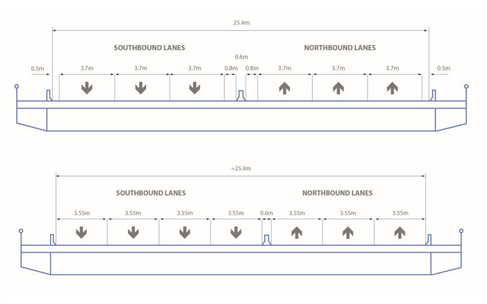 Original and new lane configurations of the bridge illustrated.