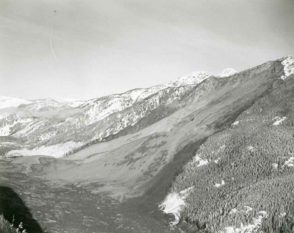 Aerial view of the Hope Slide looking westward, January 1965