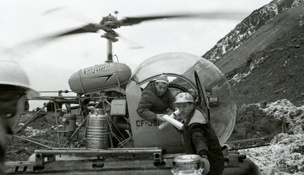 Helicopter pilots flew supplies and materials in and out of the debris field in the days immediately following the slide.