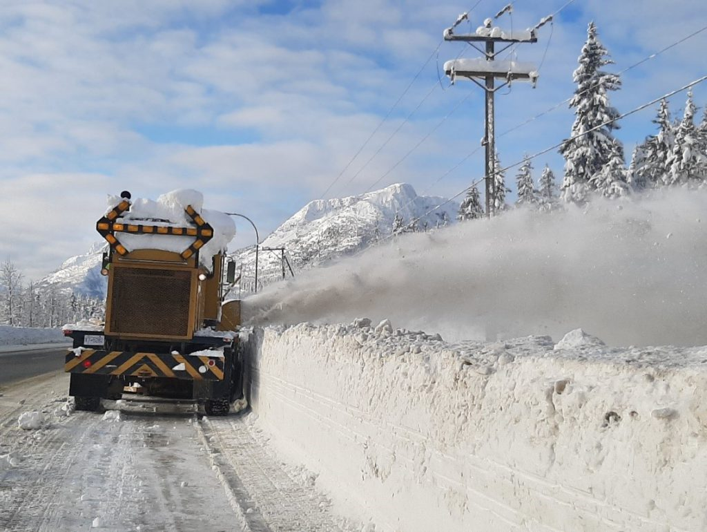 Yellowhead Road and Bridge clears snow on the Coquihalla after a record snowfall in December 2019