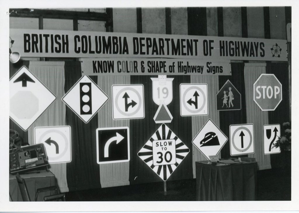 A selection of highway signage, produced by the Provincial Sign Shop, on display, circa 1965.
