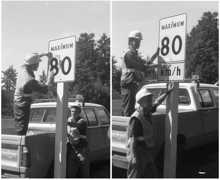 Staff add metric measurements to regulatory speed signage following the move to metric in 1978.