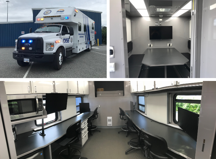 Exterior and interior of incident command vehicle