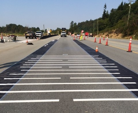 Test lines of paint on a BC highway.
