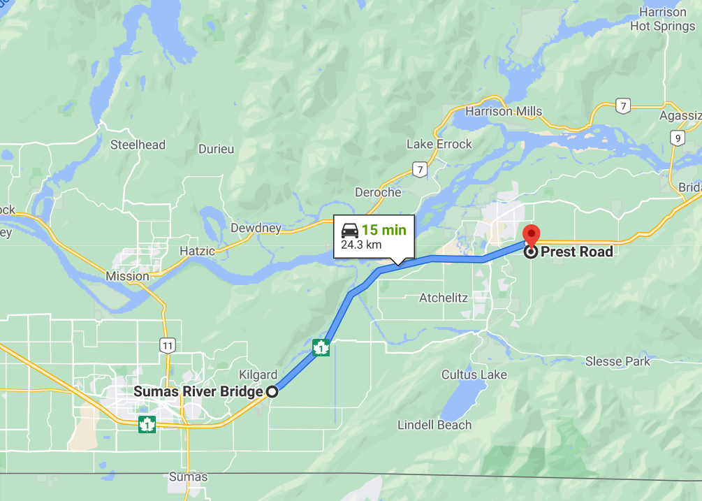 A map overview of the section of BC highway 1 which will be governed by a variable speed limit system.