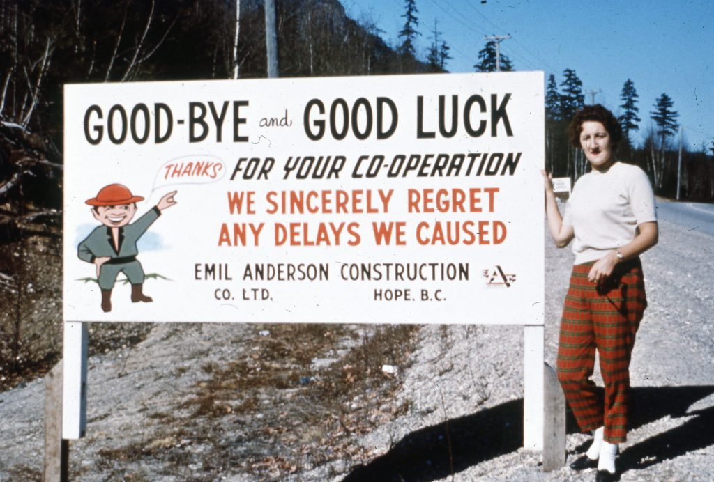 A vintage construction zone sign posted to BC highways in the 1960s. The sentiment is still the same – we appreciate your patience.