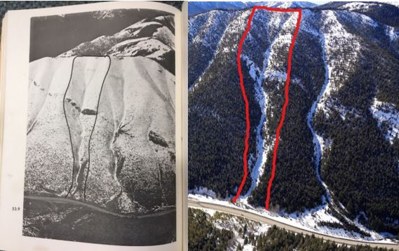 two images showing the same topography highlight the before and after impact of reforestation on the slopes of the mountains through the Big Burn area on BC highway 3, through Manning Provincial Park