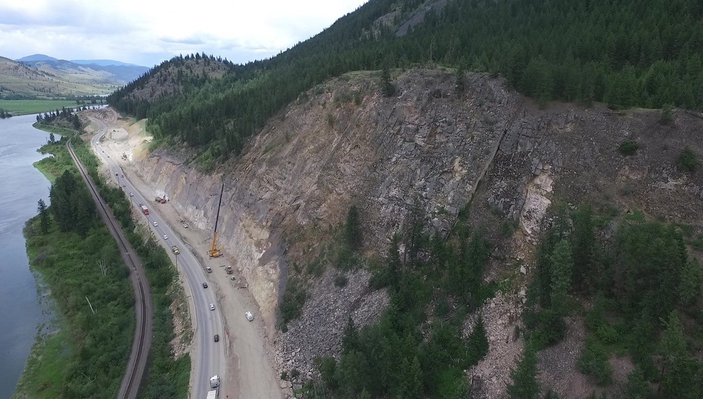 Crews work to scale rock face on the Trans Canada Highway